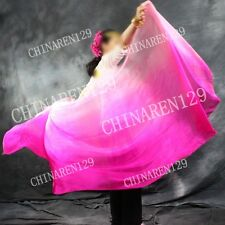 HAND TIE-DYE BELLY DANCE 100% SILK VEILS three color pink to light pink   2233