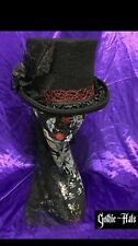 NEW Black Wool Top Hat Midnight Rose Whitby, Roses, Halloween, Steampunk 4 Sizes