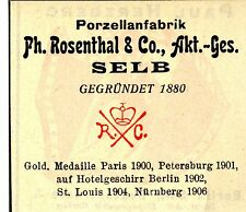 Ph. Rosenthal & Co. A.G. Selb PORZELLANFABRIK Trademark 1908