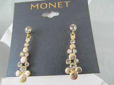 NWT MONET GOLD & CRYSTAL Statement DANGLE EARRINGS, Signed, Stunning