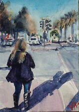 The Embarcadero Street SF Collectible Card Original Watercolor Painting ,ACEO