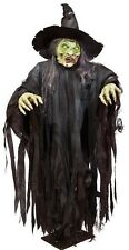 morbid 6 ft tall giant standing witch eyes light up sensor halloween prop decor