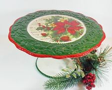 """Christmas Footed Cake Plate/Stand """"Home for Christmas""""/Poinsettia/Ceramic"""