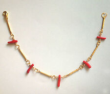 Handmade Coral Red Chilly Beads Tube Spacers Gold Plated Anklet Valentine