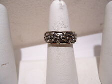 VINTAGE SOLID STERLING SILVER SPINNER RING SIZE 9.0 ABSTRACT DESIGN