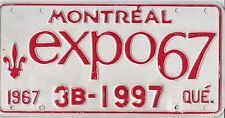 �� �� �� AUTHENTIC CANADA 1967 QUEBEC EXPO 67-MONTREAL LICENSE PLATE.