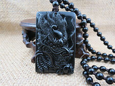 100% pure hand-carved beautiful dragon black jade pendant
