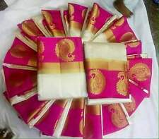 Tussar Cotton Silk Sarees - WHITE WITH PINK MANGO BORDER - Free shipping