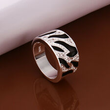 Free Shipping Wholesale Elegant 925 Sterling Silver Black&White RING R271