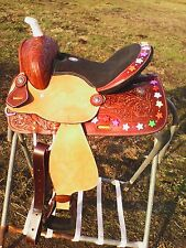 "13"" youth Double T Western barrel race saddle w/colorful star beads"