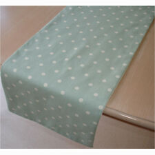 "NEW Coffee Table Runner 3ft ( 90cm ) 36"" Duck Egg Blue White Polka Dots Small"