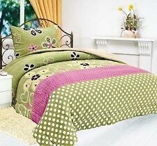 2Pc Green & Pink Floral Print Borrego Fleece Blanket Set with Sherpa Lining Twin