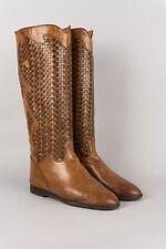 70er Vintage Leder Cognac Flat Stiefel gr. 37 1/2 flat 70's leather boots boho