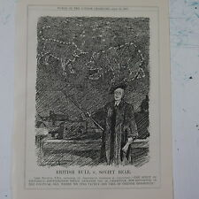 "7x10"" punch cartoon 1925 BRITISH BULL v SOVIET BEAR lord balfour astronomers"