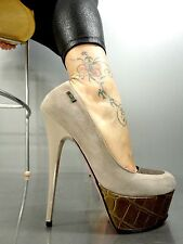 MORI ITALY PLATFORM HEELS PUMPS SCHUHE SHOES KROCO LEATHER NUDE BEIGE BROWN 40