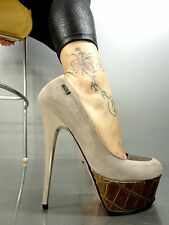 MORI ITALY PLATFORM HEELS PUMPS SCHUHE SHOES KROCO LEATHER NUDE BEIGE BROWN 44