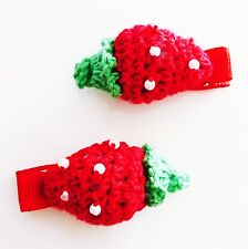 USA SELLER HANDMADE FABRIC Hair Clip PIN Claw Kids Child  strawberry Fruit Red