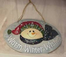 """3D SNOWMAN w/ SNOW SIGN / PLAQUE """" Warm Winter Wishes"""" Heavy Colorful"""