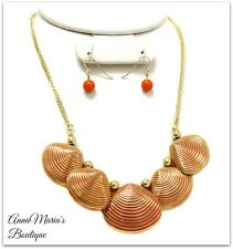 ORANGE GOLD SEASHELL CHARM CHAIN LINK METAL DESIGN STATEMENT CHUNKY NECKLACE SET