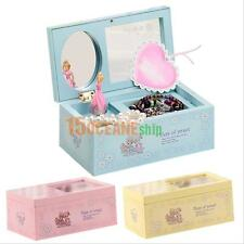 Wind Up Music Box Ballet Dancer Musical Toy Gift + Mirror Jewelry Organizer Case