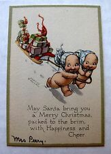Original 1920s Kewpie Doll Christmas Card Kewpies Pulling Sleigh of Gifts