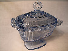 Vintage Light Blue Indiana Glass Lace Edge Footed Ribbed Candy Compote Dish Lid