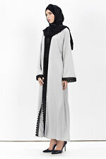 Muslim Women Cardigan Dress Islamic Open Abaya Full Length Maxi Clothes Size M