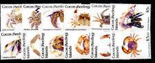 Cocos (Keeling) es. SG252/63 1992 Juego de crustáceos Definitivos estampillada sin montar o nunca montada