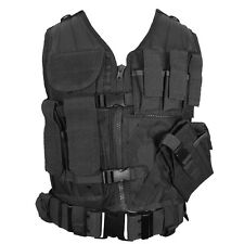 Gilet tactique noir-Assaut Combat Airsoft Armée molle attachement rig top