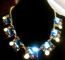 KATE SPADE NEW YORK RARE SMOKE AND MIRRORS BLUE CLUSTER STATEMENT NECKLACE NWT