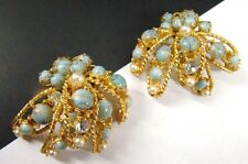 SIGNED DeMARIO NY Vintage EARRINGS Turquoise Pearl Rhinestone EXC COND