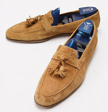 New $900 SUTOR MANTELLASSI Camel Tan Rustic Suede Tassel Loafers US 9 Shoes