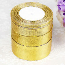 25 Yards Roll Gold/Silver Sheer Organza Ribbon Party Wedding Favor 6-40mm FG