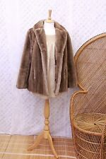 Vintage blonde sand faux mink fur 60s 70s oversized retro coat jacket M 10 12 14