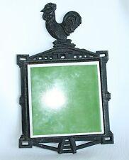 Vintage Metal Cast Iron Rooster Trivet Green Tile Spoon Rest Japan Ornate