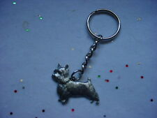 SILKY TERRIER Fine DETAILED PEWTER Silver DOG KEYCHAIN Key Chain Ring NEW puppy