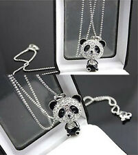 Cute Full Silver Crystal Rhinestone Panda Bear Sweater Chain Necklace Pendant