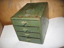 Vintage Metal 4 Drawer Small Parts Micro Cabinet Tool Box Organizer industrial g