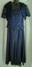 IZILADY Mother of the Brid A-line Chiffon Formal Dress with jacket navy sz14