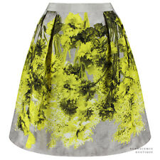Giambattista Valli Yellow Grey Tones Floral Pattern Woven Silk Skirt IT44 UK12