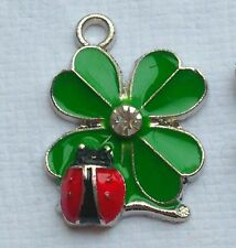 4 x SHAMROCK WITH LADYBIRD CHARMS -  4 Leaf Clover Charms Green & Red Enamel