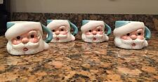 Set Of 4 Santa Claus Eggnog Mugs Cocoa Cups Father Christmas Face With Blue Hats