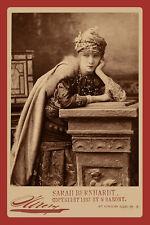 Actress SARAH BERNHARDT 1870 Vintage Photograph A++ Reprint Cabinet Card