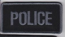 POLICE Vest Gear Bag patch, full hook backing, grey/black 4-1/2 x 2