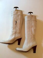 RIVER ISLAND CREAM LEATHER KNEE HIGH BOOTS SIZE 5/38