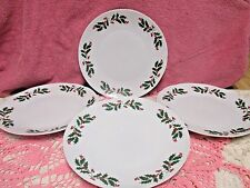 "Apulum Holly Berry Holiday Dinner Plates 10"" Romania Christmas Set of 2"