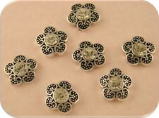 Beads Mini Flowers with Clear Swarovski Crystal Elements ~ 2 Hole Sliders QTY 7