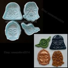 Star Wars cookie cutter with stamp 4 pieces set. Cortador Guerra de las Galaxias
