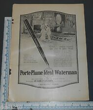1922 WATERMAN'S IDEAL PORTE PLUME FOUNTAIN PEN AD