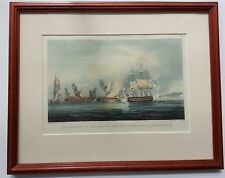 Destruction of the French Frigates L'Arianne & L'Andromache - Colored Engraving